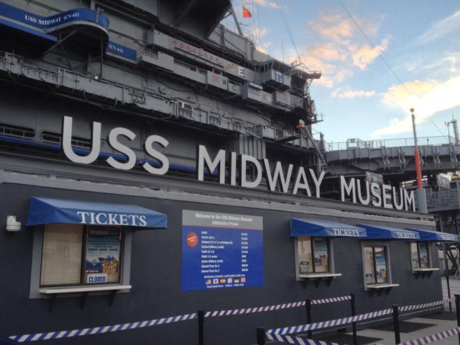 空母ミッドウェイに到着!ホンモノの航空母艦は驚きと興奮の連続だった!まずは船内を見て回るゾ!Arrived USS Midway Museum in San Diego.
