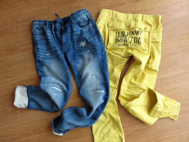 黄色いパンツで春らしく!ゆるいパンツも買ったのさ。【AVIREX】限定カラーとジーンズみたいなスウェットだよ。